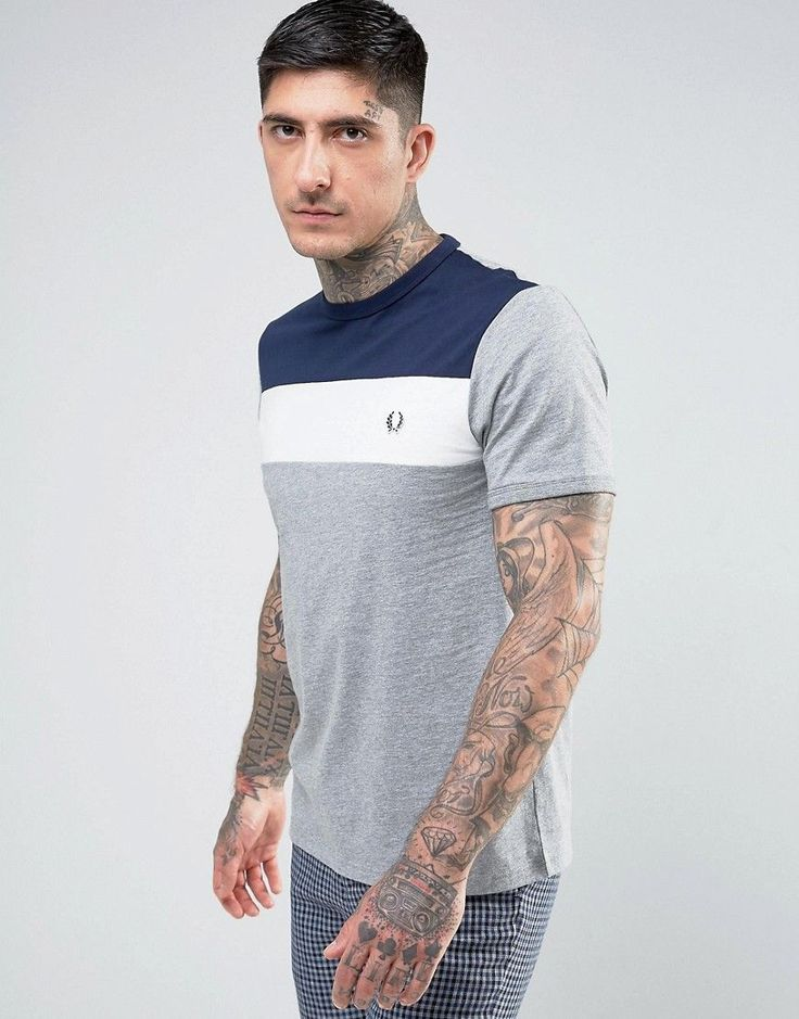 Fred Perry Slim Fit Sports Authentic Color Block T-Shirt In Gray Marl