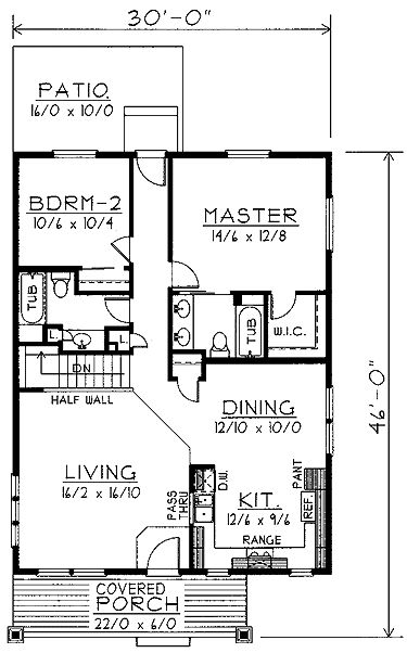 Home Plans HOMEPW74380 - 1,200 Square Feet, 2 Bedroom 2 Bathroom Home with 2 Garage Bays