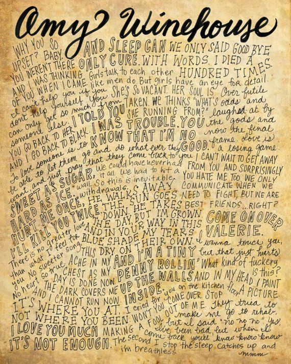 Amy Winehouse Letras Y Frases 8 X 10 Handdrawn Y Handlettered