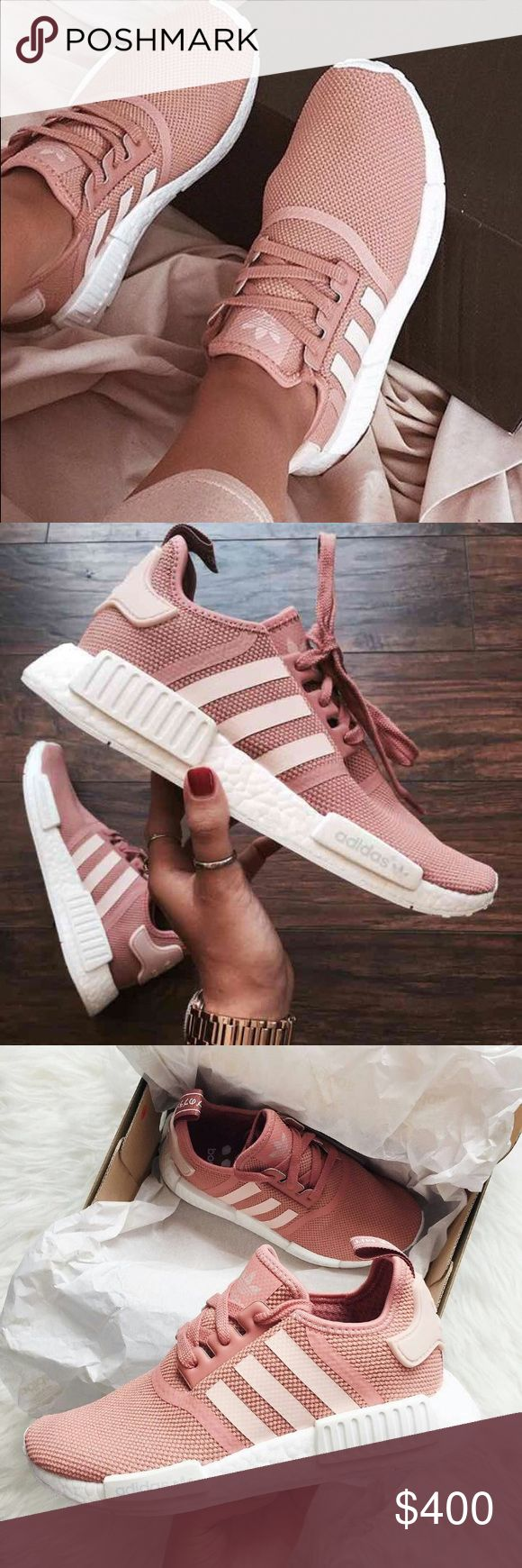 """NMD Raw Pink Adidas Brand New NMD Raw Pink Adidas releases a women's exclusive pair of the NMD for the summer of 2016 with the release of the adidas NMD """"Raw Pink."""" The sneaker features a tonal raw pink upper sitting on an all-white Boost outsole. They fit 0.5 big so better fit for a size 8.5 they are a size 8. These are authentic and SOLD OUT everywhere so they go for a higher price Adidas Shoes Sneakers"""
