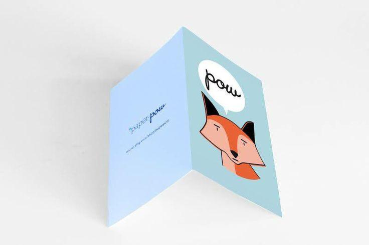 • sky blue fox card •  visit our shop: www.etsy.com/shop/paperpow