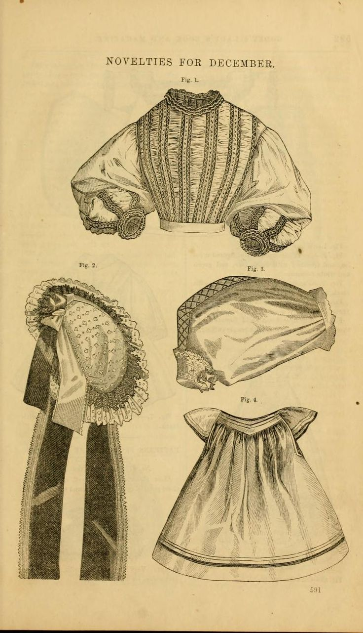 1862 Godey's. Breakfast-cap of figured muslin, trimmed with black lace and green and white ribbons.