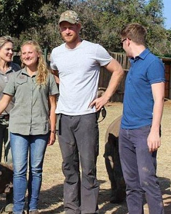 Prince Harry is pictured for the first time since he secretly flew to Africa last month to join armed forces battling rhino poaching gangs, August 12, 2015