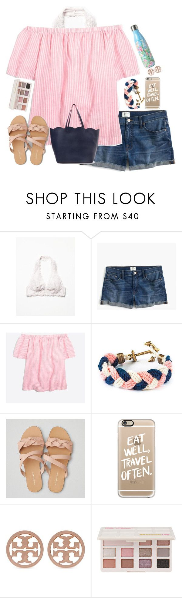 """""""I've got a thing for college campuses... anyone else? Rtd"""" by lbkatie17 ❤ liked on Polyvore featuring Free People, J.Crew, Kiel James Patrick, Lilly Pulitzer, American Eagle Outfitters, Casetify, Tory Burch, Too Faced Cosmetics and Deux Lux"""