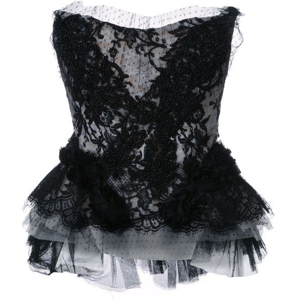 Trash Couture Strapless Lace Beaded Corset ($7,549) ❤ liked on Polyvore featuring intimates and shapewear