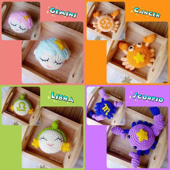 12 Zodiac Signsamigurumi zodiacmini crochet by EarnCrochet on Etsy