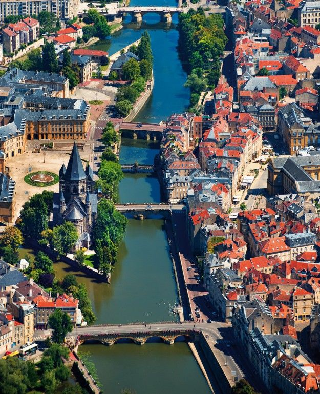 Metz ~ Moselle ~ Lorraine ~ France ~ An aerial view of the town from the Temple Neuf.