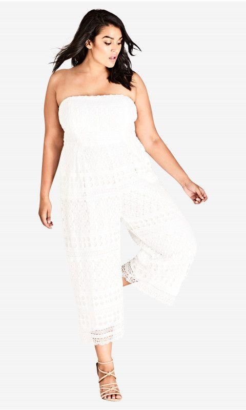 e41741505e62f Shop Women's Plus Size Ivory Applique Jumpsuit | City Chic USA