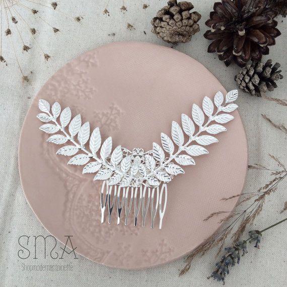 Bruiloft bruid haarkam bladen zilver haarkammen romantisch elegant brocante handgemaakte bruids haaraccessoires