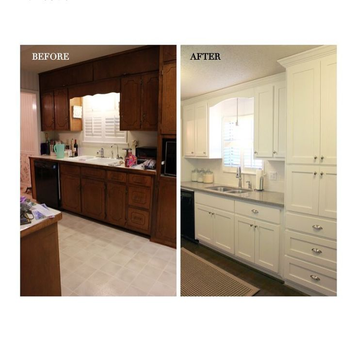A dark, 70's kitchen transformed into a bright, updated space.  Kitchen before and after