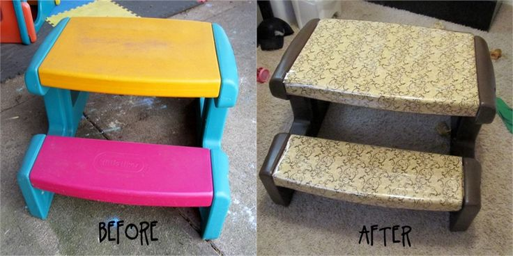 DIY Little Tikes table remodel - awesome idea, I've never loved those super-bright colors in my house, LOL