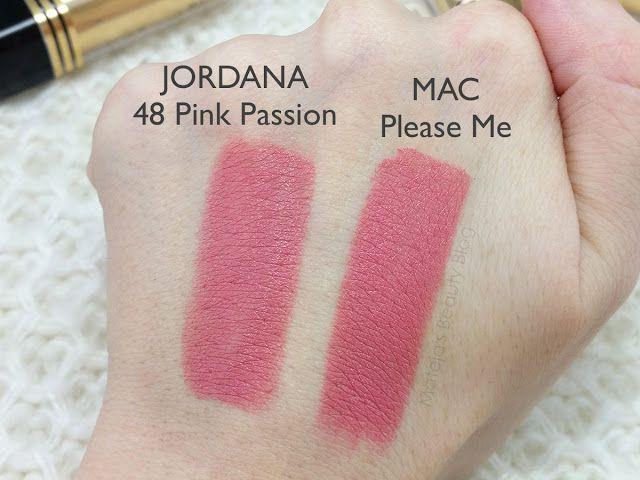 Mateja's Beauty Blog: Jordana Matte Lipstick 48 Pink Passion and Mac Please Me swatches, comparison