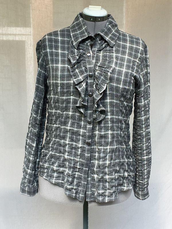 Chemise western à carreaux gris et blanc pour femme : Chemises, blouses par v-l-basics