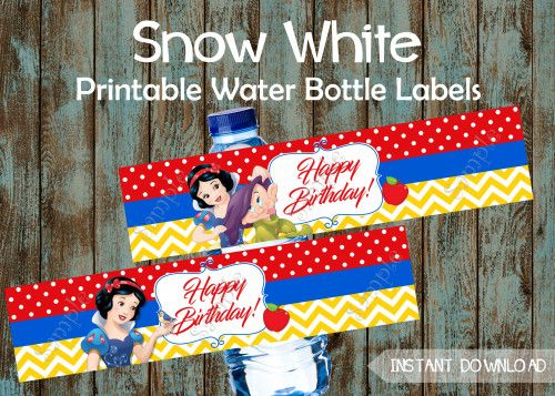 Snow White Birthday party package,  Snow White Party Supplies, Snow White Water bottle Labels, Snow White favor tags, Snow White favors, Snow White birthday
