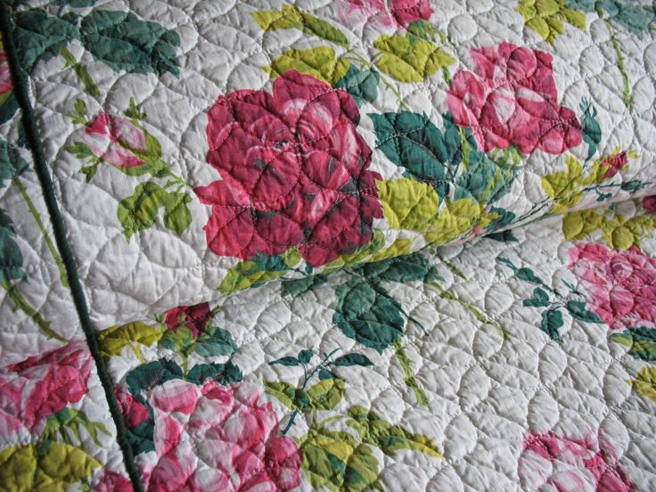 Vintage 50s Floral Bedspread Full by Rabbitinatree on Etsy