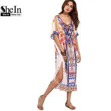 Shein boho donna summer beach abiti delle signore multicolor print incrociato davanti scollo a v mezza manica split side midi dress(China (Mainland))