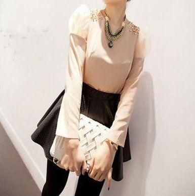 Amazon.co.jp: ビジュー付 パフスリーブ シフォンTシャツ レディースファッション (ライトピンク): 服&ファッション小物通販