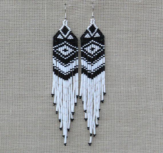 White And Black Earrings Native American Beaded Earrings