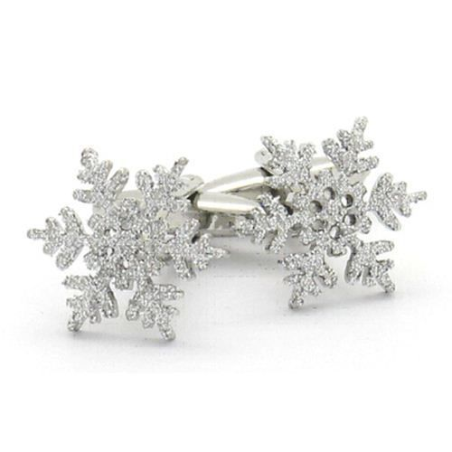 Silver Coloured Snowflake Christmas Cufflinks - Men s Gift (X2PSN232)