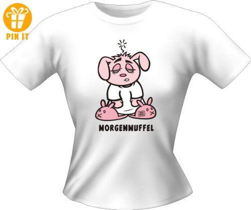 T-Shirt Damen mit Aufdruck - Morgenmuffel - Sexy Fun Shirt Girlie M,Weiß - T-Shirts mit Spruch | Lustige und coole T-Shirts | Funny T-Shirts (*Partner-Link)