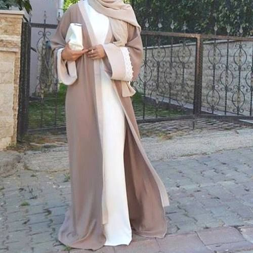 white and beige abaya fashion- How to style your Abaya cardigan for Ramadan http://www.justtrendygirls.com/how-to-style-your-abaya-cardigan-for-ramadan/