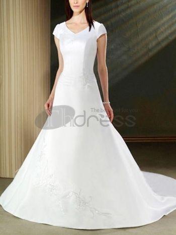 Abiti da Sposa Semplici-Economici bianca con scollo a v abiti corti da sposa semplici