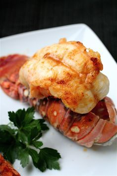 Broiled lobster tail with garlic butter. My boyfriend would die if I made this for him!