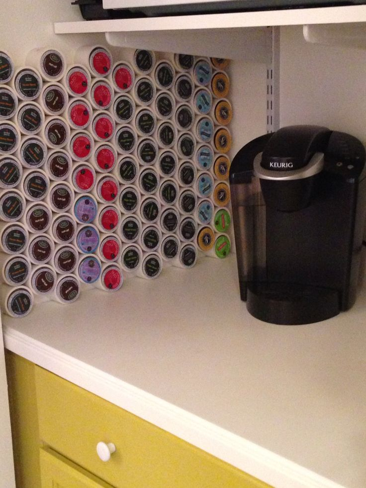 PVC pipe and hot glue. Custom K-cup storage.