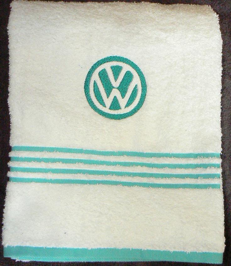VW volks wagon embroidered bath towelVdub, Ws