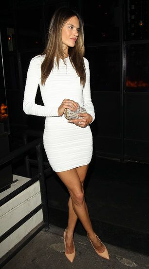 simplistic bodycon dress, gold lariat necklace and nude pointy stilettos = perfect! [Alessandra Ambrosio]