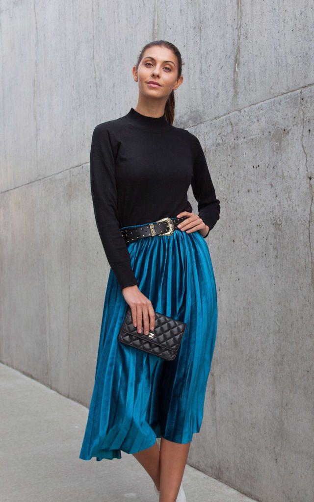 370d191e7 Teal Blue Velvet Pleated Midi Skirt By Styled In London in 2019 ...