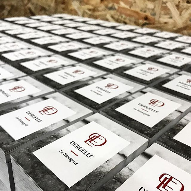 5000 Cartes De Visite Imprimes En Offset Noir Et Rouge Chaud Prtes Tre Emballes Livres Merci Fromagerie Deruelle Clarissebdessine