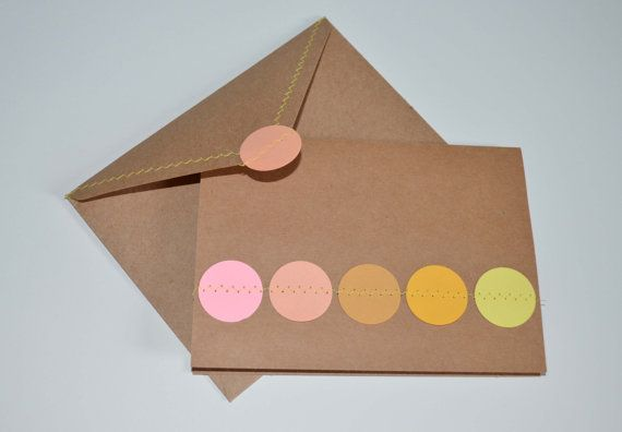 Kraft Card with Pink and Yellow Circle details. Paper circles sewn on card, by MilestonesandPebbles, $4.09 https://www.etsy.com/shop/MilestonesandPebbles?ref=related-shop-35