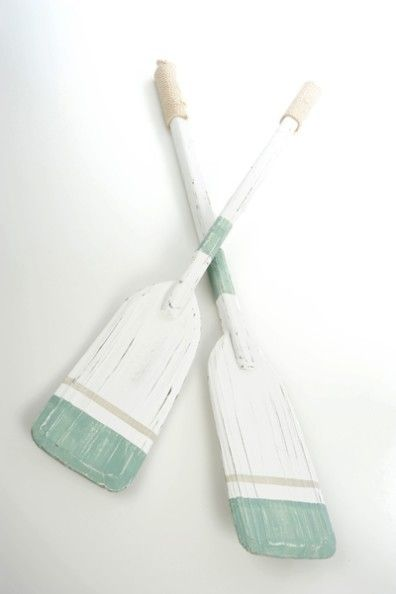 Love the seafoam and white oar for a cottage room