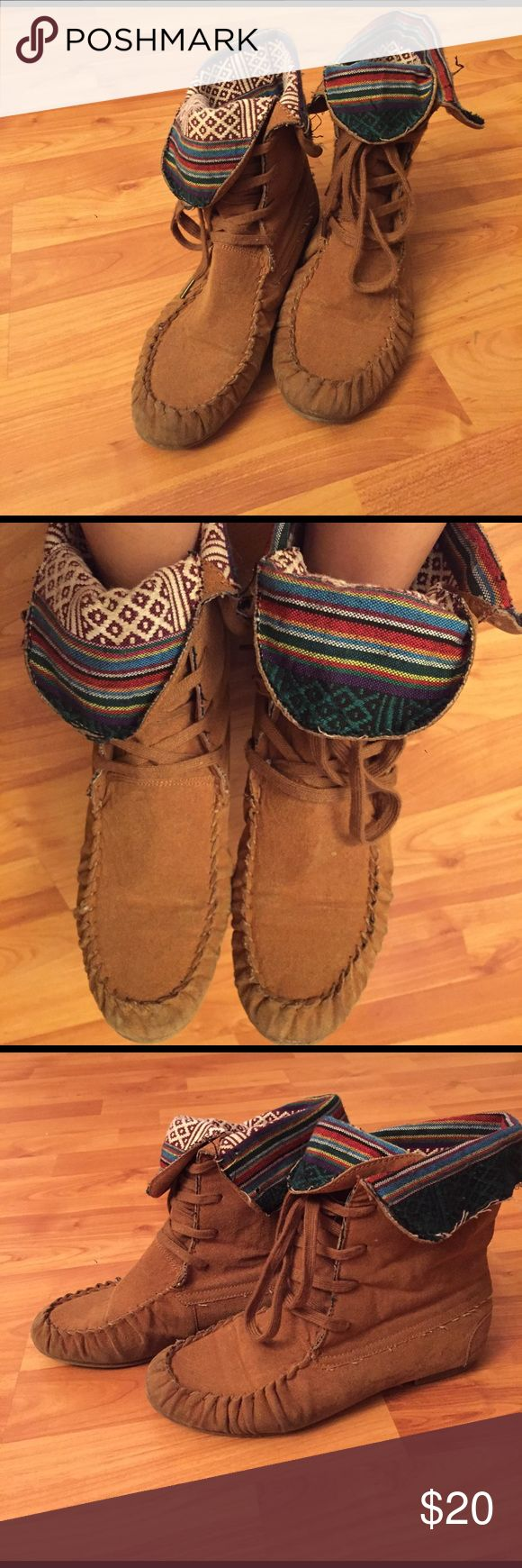 Charlotte Russe moccasin boots Hipster moccasin boots. Extremely comfortable and match every color! Some signs of wear shown in the pictures, but still in great condition. Charlotte Russe Shoes Ankle Boots & Booties