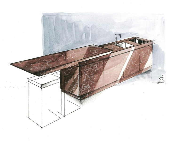 Watercolour kitchen island illustration / rendering / sketch for McCarron&Co