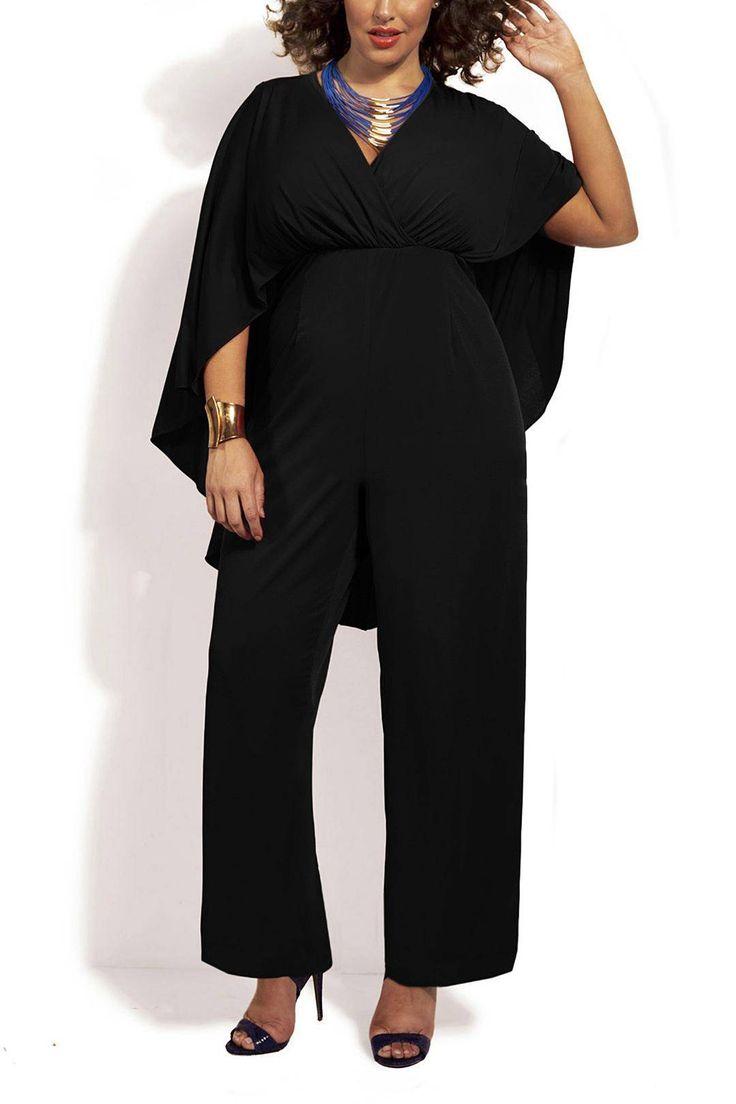 Plus Size V-Neck Cape Back Chiffon Jumpsuit - US$21.95 -YOINS