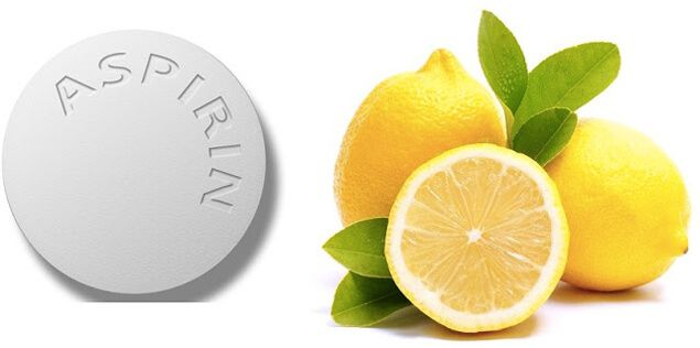 Aspirin and Lemon juice mask . Mash up 6-12 non-coated aspirins and combine with freshly squeezed lemon juice. 2. Let the aspirin dissolve until it turns into a paste. 3. Apply the mask to your skin and leave it on for 10 minutes. 4. Remove the face mask by dipping a cotton round in some baking soda and some water.