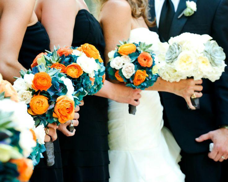 Liv by Design   STEMS Floral   Umlauf Sculpture Garden Wedding   Orange Wedding   Succulent Bouquet   Orange Bridesmaid Bouquet   Succulent Bridal Bouquet