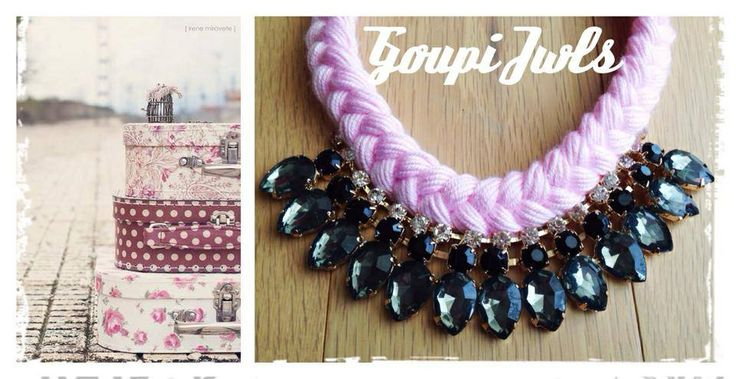 Pink and grey combination. Statement necklace with shinny crystals . Pink braid love it!!