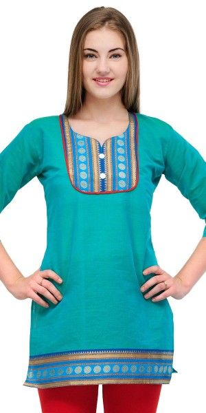 Georgeous Blue Cotton Casual Short Kurti.