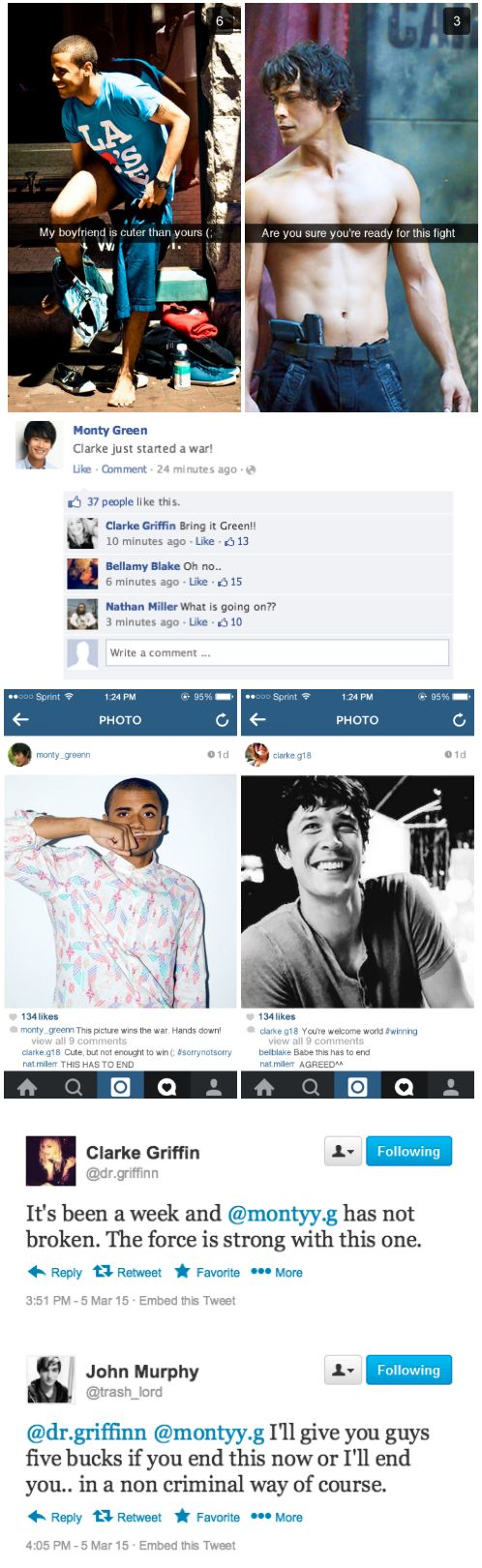 The 100 & Social Media: Clarke vs Monty || Bellarke, Minty || Clarke Griffin and Bellamy Blake || Monty Green and Nathan Miller
