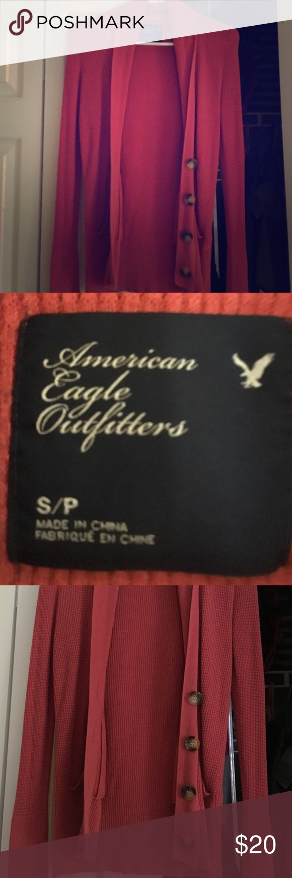 American eagle coral cardigan American eagle coral cardigan, great condition, size small American Eagle Outfitters Sweaters Cardigans
