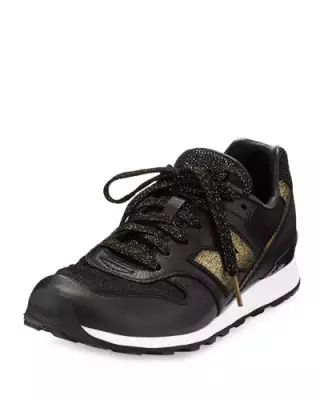 X36XE New Balance Embossed Leather Sneaker, Black/Gold