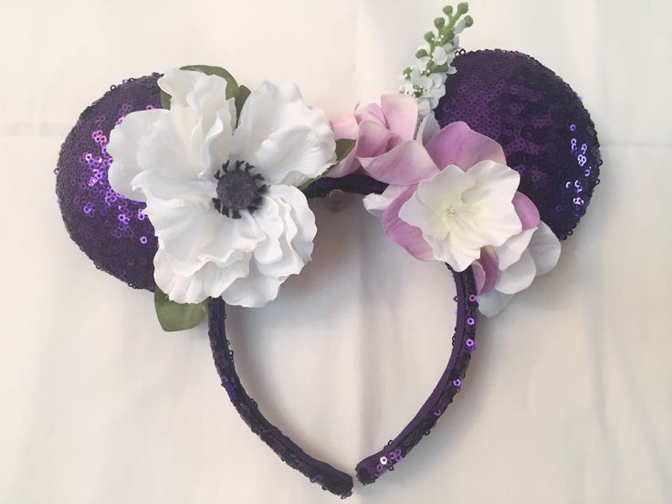 Purple Flower Sequin Mickey Mouse Ears