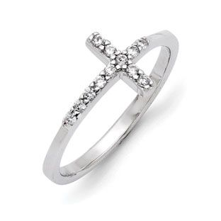 Sterling Silver Sideways Cross CZ Ring Jewelry Available Exclusively at Gemologica.com