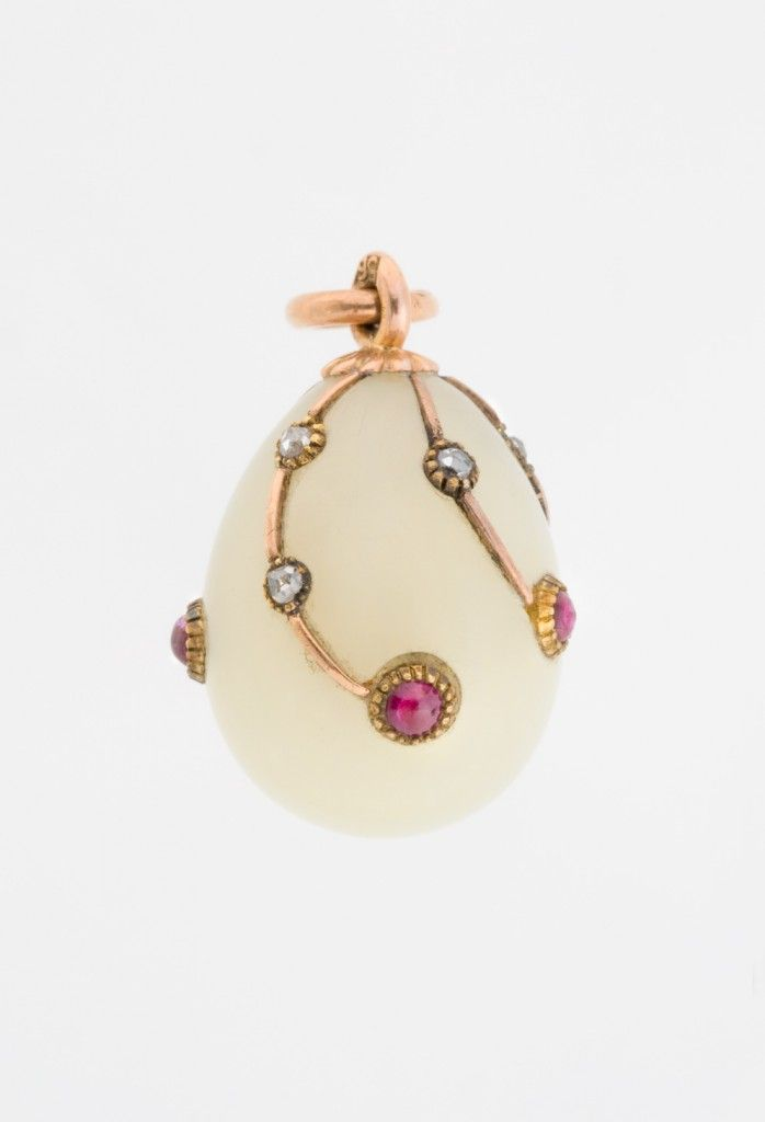 Miniature Easter Egg Pendant  19th - 20th century  Fabergé firm (Russian , 19th century)  Bowenite, gold, rubies, diamonds