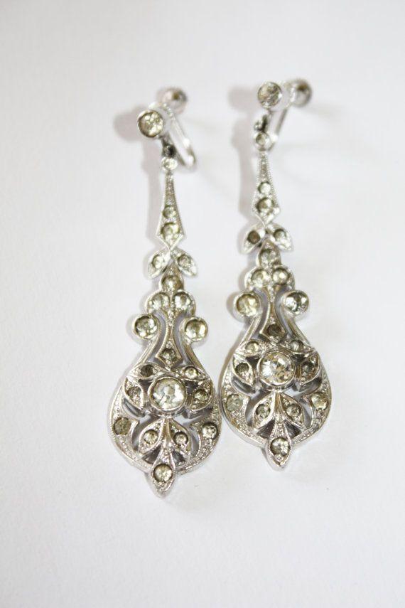 Art Deco Earrings Pave Paste Rhinestone 1920s Jewelry by patwatty, $30.00