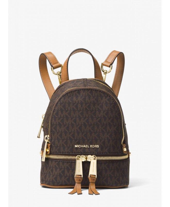 e3442f1a77590b Michael Kors Brown Rhea Mini Logo Backpack 30S7GEZB1V-0200 ...