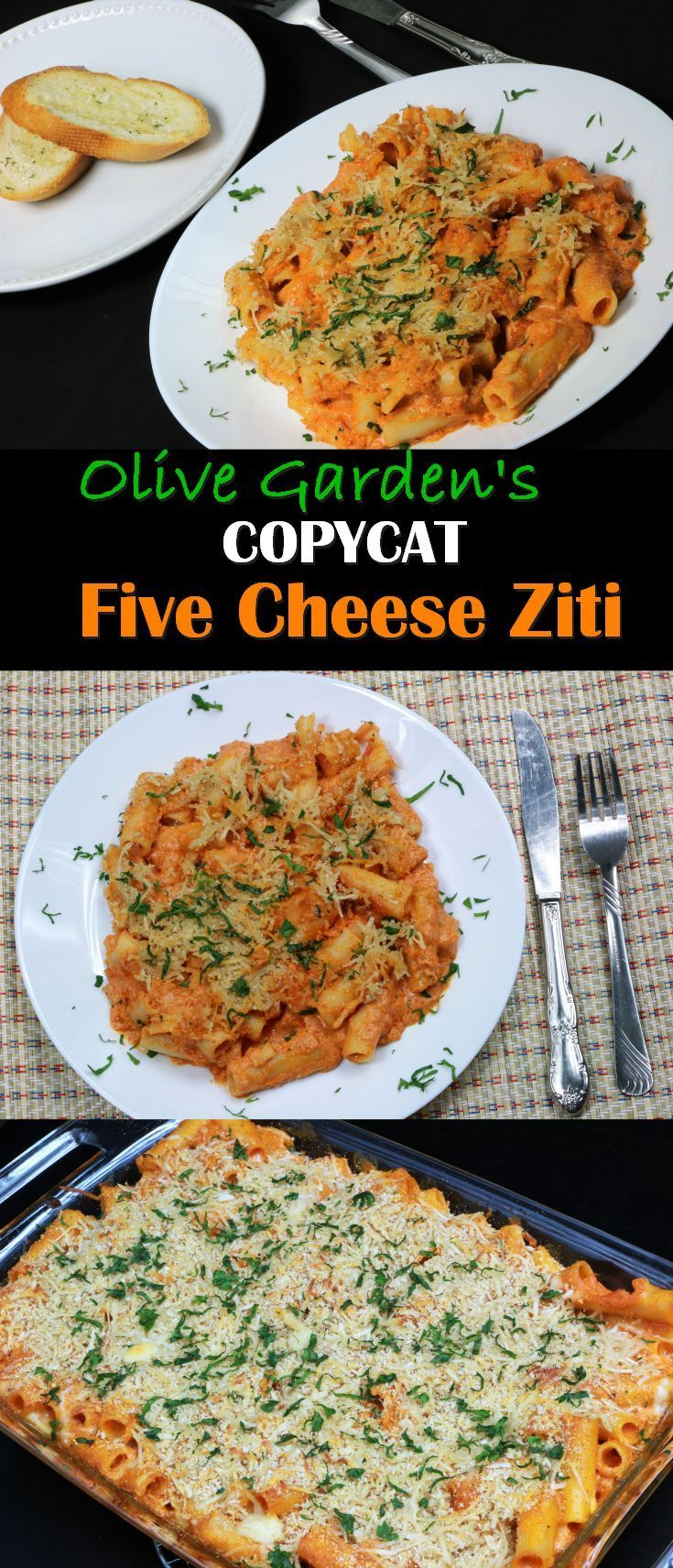 Five Cheese Ziti is a classic Italian baked pasta dish. It's basically mixture of alfredo sauce and pasta sauce baked in a dish with cheese and ziti pasta. I love Olive Garden. I have been there count (Baking Pasta)